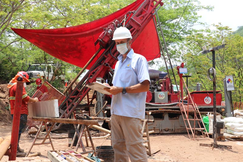 Condor Gold Head of geology supervising the drilling